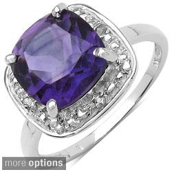 Malaika Sterling Silver Genuine Gemstone and White Topaz Ring