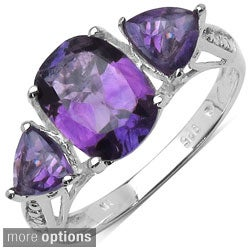 Malaika Sterling Silver Genuine Cushion-cut Gemstone Ring