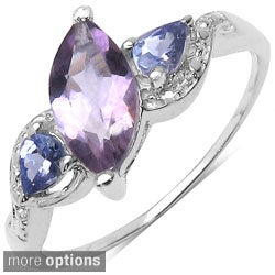 Malaika Sterling Silver Genuine Multi-gemstone Ring