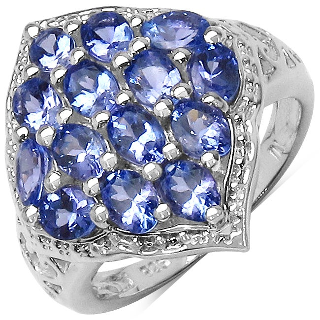 Malaika Sterling Silver Genuine Tanzanite Ring (1 3/10ct TGW)
