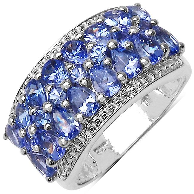 Malaika Sterling Silver Genuine Tanzanite Ring (2 3/10ct TGW)