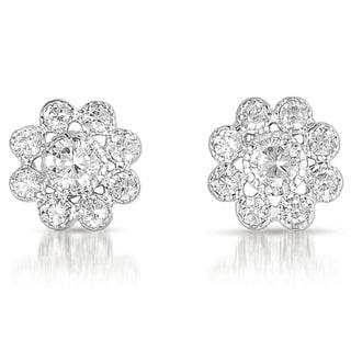 Collette Z Sterling Silver Clear Cubic Zirconia Flower Stud Earrings