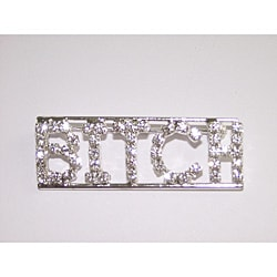 Detti Originals Silvertone 'BITCH' Clear Crystal Pin