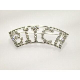 Detti Originals Silvertone 'B*TCH' Crystal Pin
