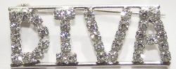 Detti Originals Silvertone 'DIVA' Crystal Pin - Thumbnail 2