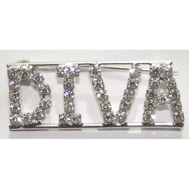 Detti Originals Silvertone 'DIVA' Crystal Pin
