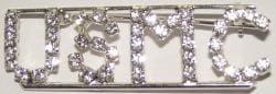 Detti Originals Silvertone 'USMC' Crystal Pin - Thumbnail 2