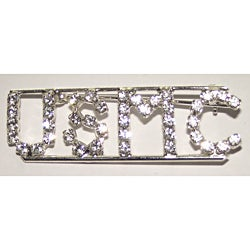 Detti Originals Silvertone 'USMC' Crystal Pin