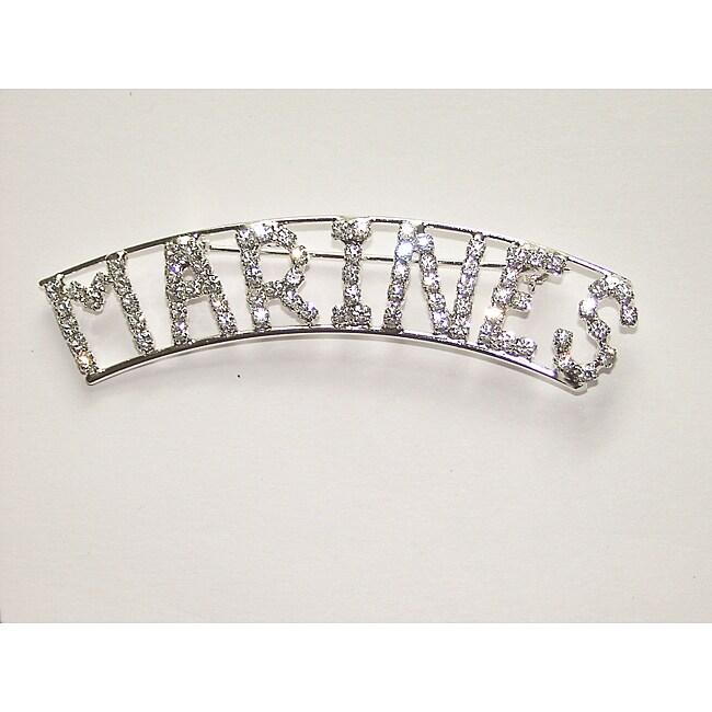 Detti Originals Silvertone 'MARINES' Crystal Pin
