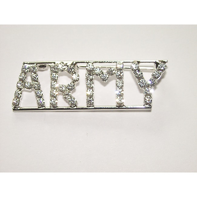 Detti Originals Silvertone 'ARMY ' Crystal Pin