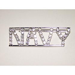Detti Originals Silvertone 'NAVY' Crystal Pin