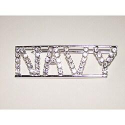 Detti Originals Silvertone 'NAVY' Crystal Pin