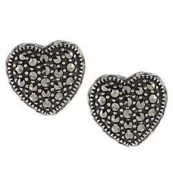 MARC Sterling Silver Pave-set Marcasite Heart Earrings