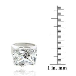Icz Stonez Rhodiumplated Cubic Zirconia Rectangle-cut Ring (24ct TGW)