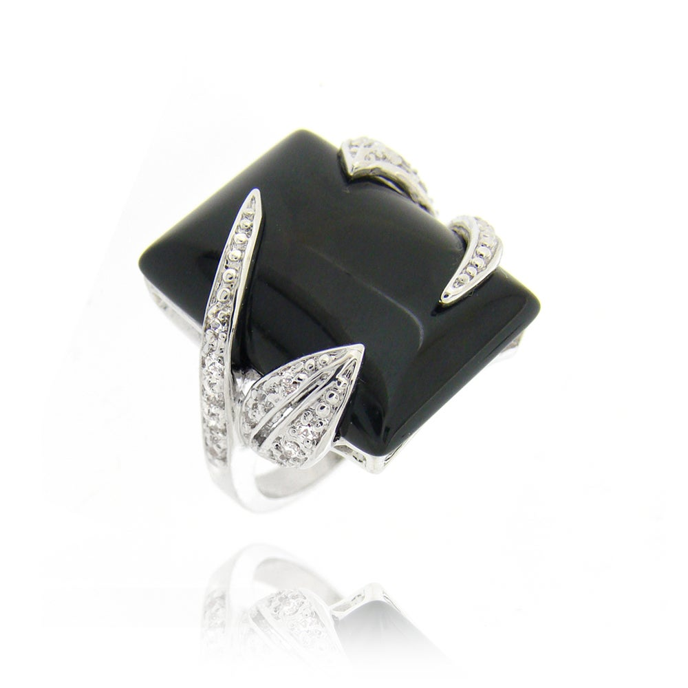 Icz Stonez Rhodium-plated Onyx and Cubic Zirconia Ring