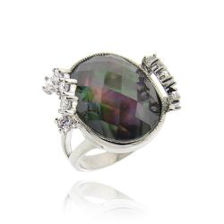 Icz Stonez Rhodium-plated Abalone and Cubic Zirconia Ring