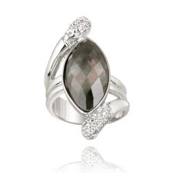 Icz Stonez Rhodium-plated Brass Abalone and Cubic Zirconia Ring