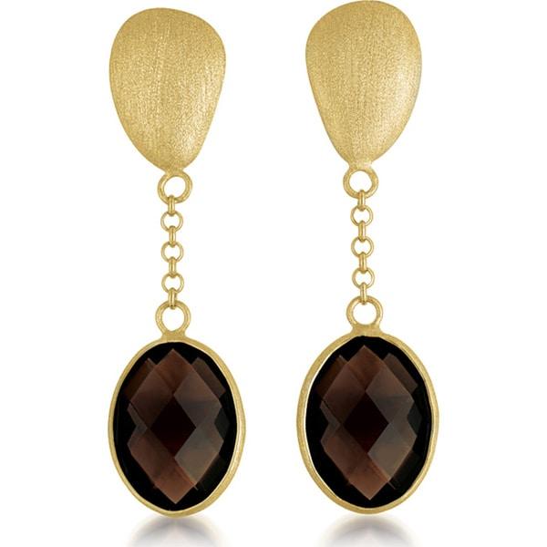 Collette Z Gold over Silver Smokey Quartz Oval Dangle Earrings