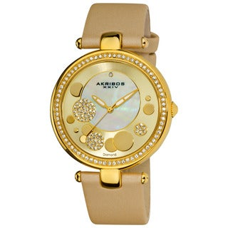 Akribos XXIV Women's Goldtone Diamond Dial Quartz Strap Watch with FREE Bangle