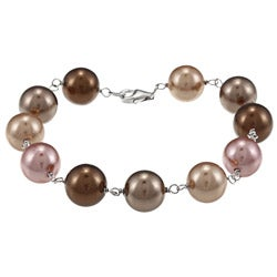 La Preciosa Sterling Silver Shades of Brown 10-mm Shell Pearl Bracelet