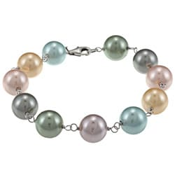 La Preciosa Sterling Silver Multi-colored 10-mm Shell Pearl Bracelet