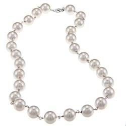 La Preciosa Sterling Silver White 10-mm Shell Pearl Necklace