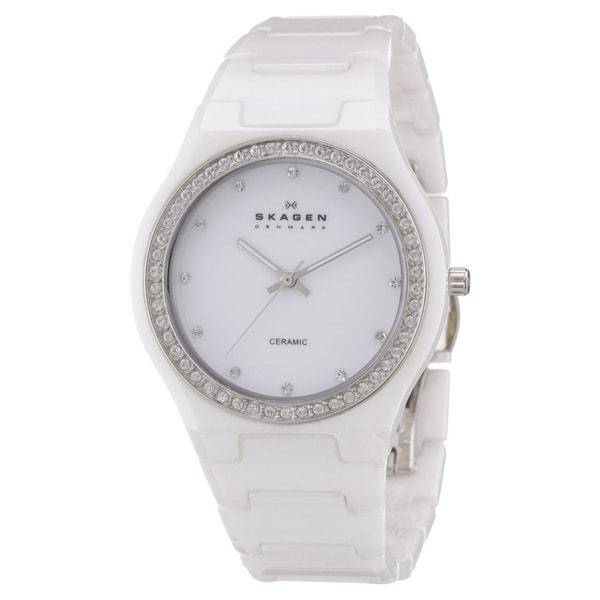Skagen Women's White Ceramic Crystal Quartz Watch