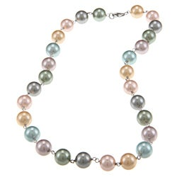 La Preciosa Sterling Silver Multi-colored 10-mm Shell Pearl Necklace