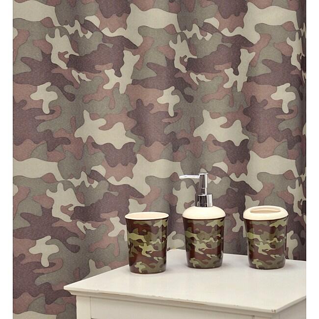 'Camouflage Khaki' Shower Curtain & Bath Accessory 16-piece Set