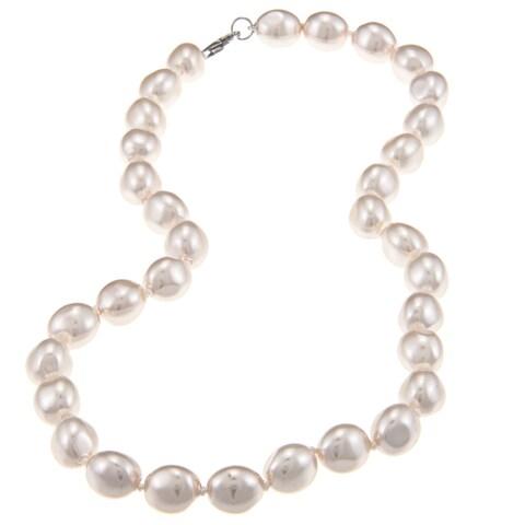 La Preciosa Sterling Silver Oval White Shell Pearl Necklace