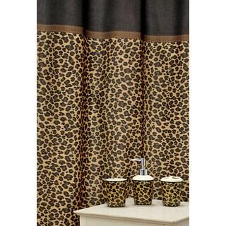 Leopard Brown Shower Curtain and Ceramic Bath Accessory 16-piece Set