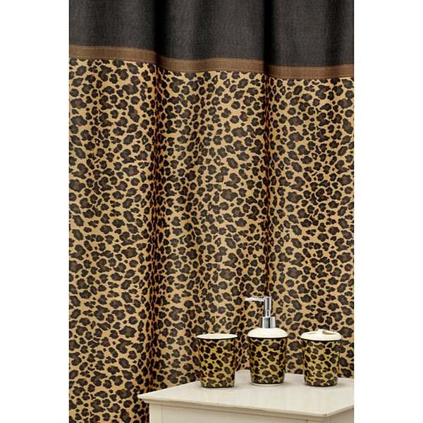 leopard brown shower curtain and ceramic bath accessory piece, Bathroom decor