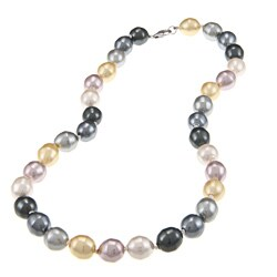 La Preciosa Sterling Silver Oval Multi-colored Shell Pearl Necklace