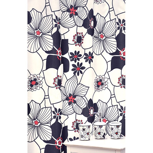 'Daisies Red and Black' Shower Curtain and Bath Accessory 16-piece Set