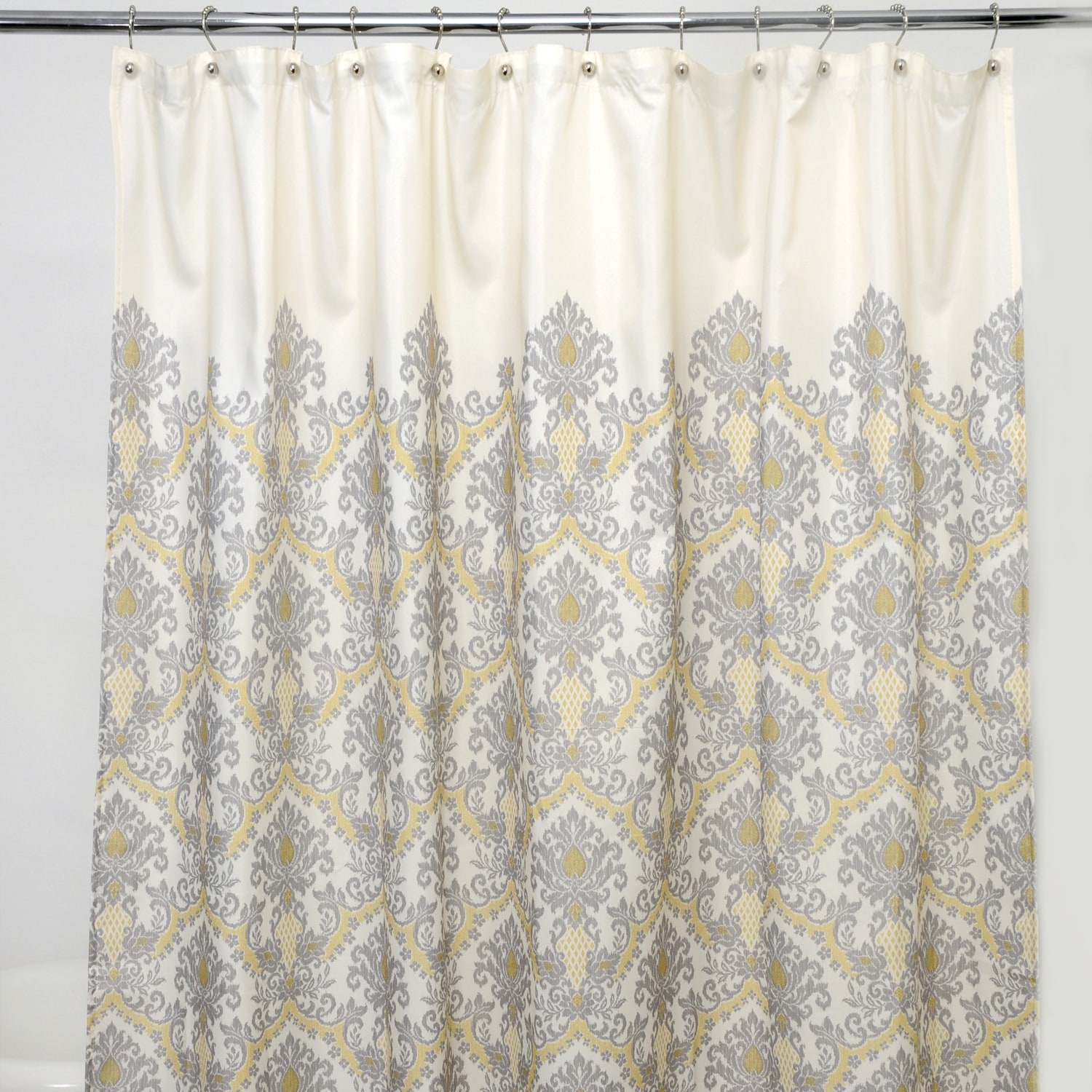 Shop Bedazzled Grey Damask 100 Percent Polyester Shower Curtain Overstock 6420324