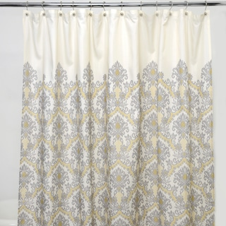 Bedazzled Grey Damask 100-percent Polyester Shower Curtain
