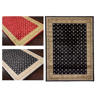 Dallas Formal European Floral Border Diamond Field Black, Beige, and Ivory Area Rug (5'3 x 7'3)