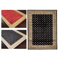 Well Woven Dallas Formal European Floral Border Diamond Field Black, Beige, Ivory Area Rug - 5'3 x 7'3