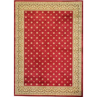 Dallas Formal European Floral Border Diamond Field Red, Beige, and Ivory Area Rug (7'10 x 9'10)
