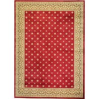 Well Woven Dallas Formal European Floral Border Diamond Field Red, Beige, Ivory Area Rug - 7'10 x 9'10