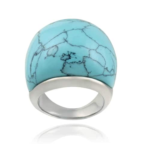 Glitzy Rocks Stainless Steel Bold Synthetic Turquoise Ring