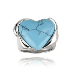 Glitzy Rocks Stainless Steel Synthetic Turquoise Heart Ring