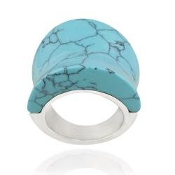Glitzy Rocks Stainless Steel Synthetic Turquoise Concave Design Ring