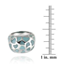 Glitzy Rocks Stainless Steel Turquoise Colored Enamel Heart Ring - Thumbnail 2