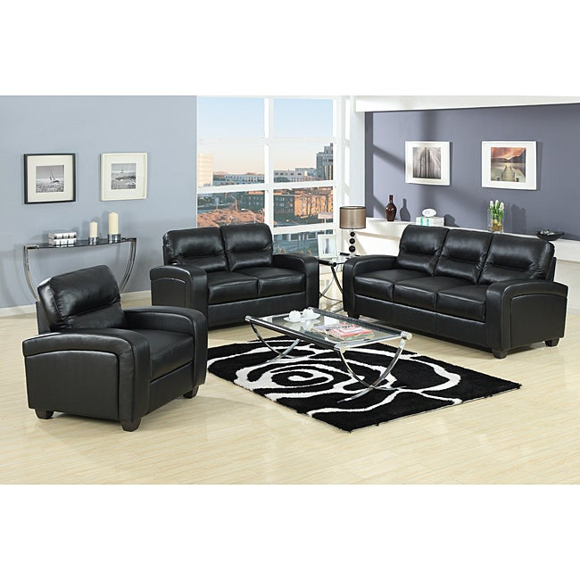 Duncan 2-Piece Black Leather Modern Sofa Set