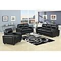 Duncan 2-Piece Black Leather Modern Sofa Set
