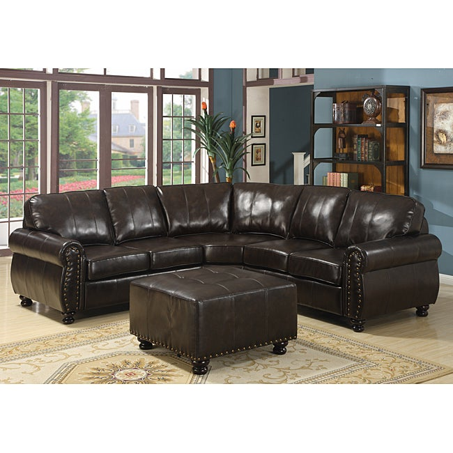 Shop Hammond 4 Piece Brown Leather Modern Sectional Sofa