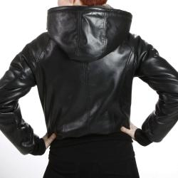 United Face Women's Reversible Hooded Lambskin Leather Jacket
