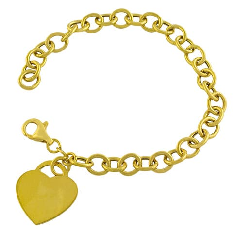 Fremada Gold over Sterling Silver Heart Charm Bracelet