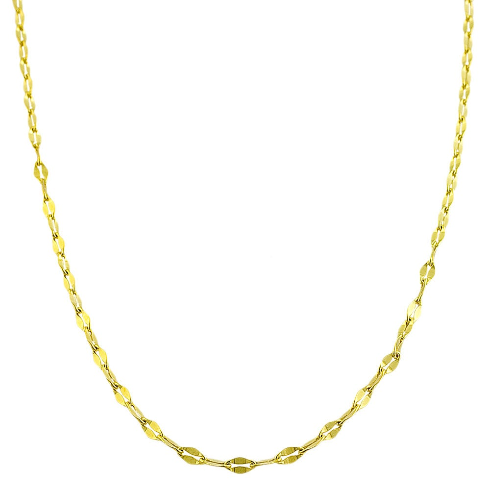 Fremada Gold over Sterling Silver Flat Link Necklace